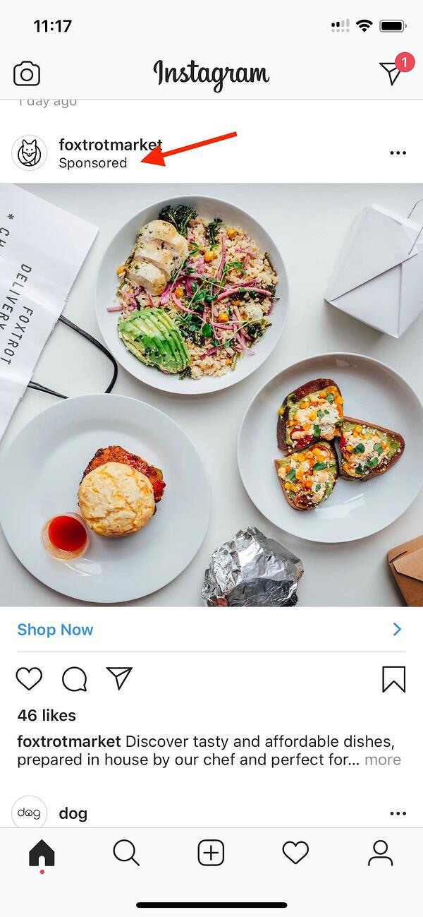 paid advertising example instagram
