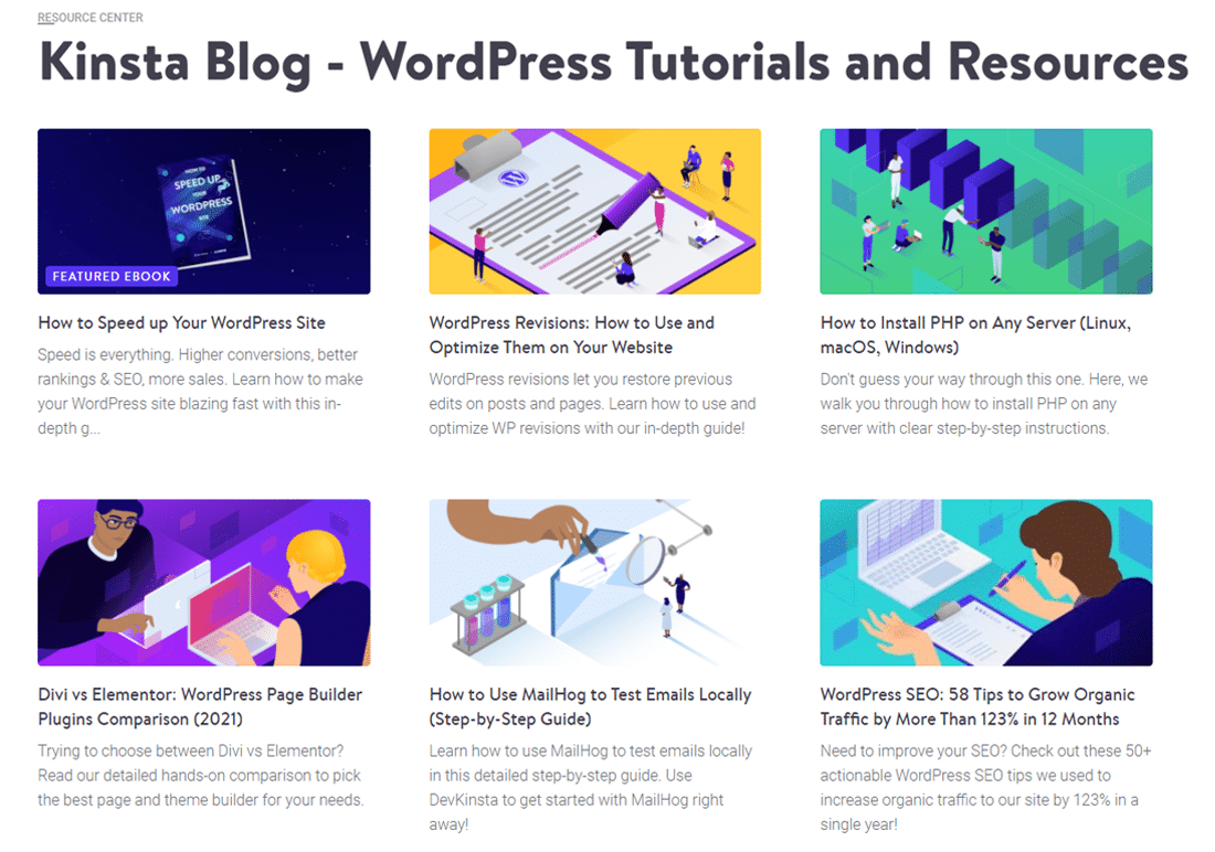 Posts with Featured Images on the Kinsta blog