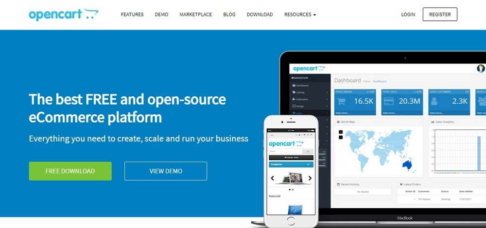 OpenCart homepage