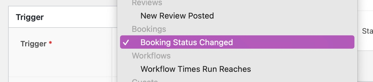 booking status changed trigger in AutomateWoo