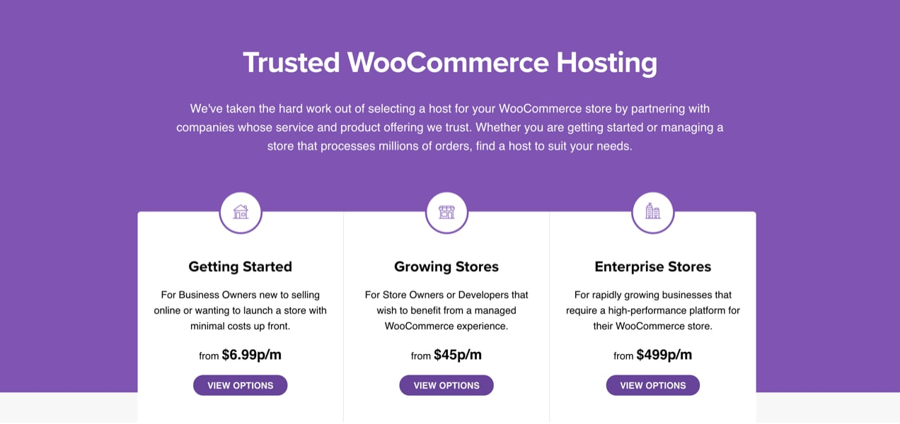 hosting plans recommended by WooCommerce