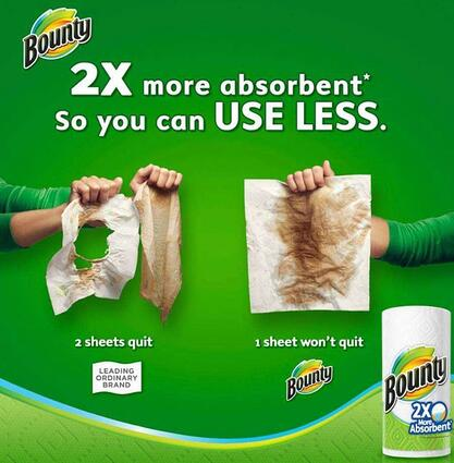 """bounty paper towel comparative advertisement that reads """"2x more absorbent so you can use less."""""""