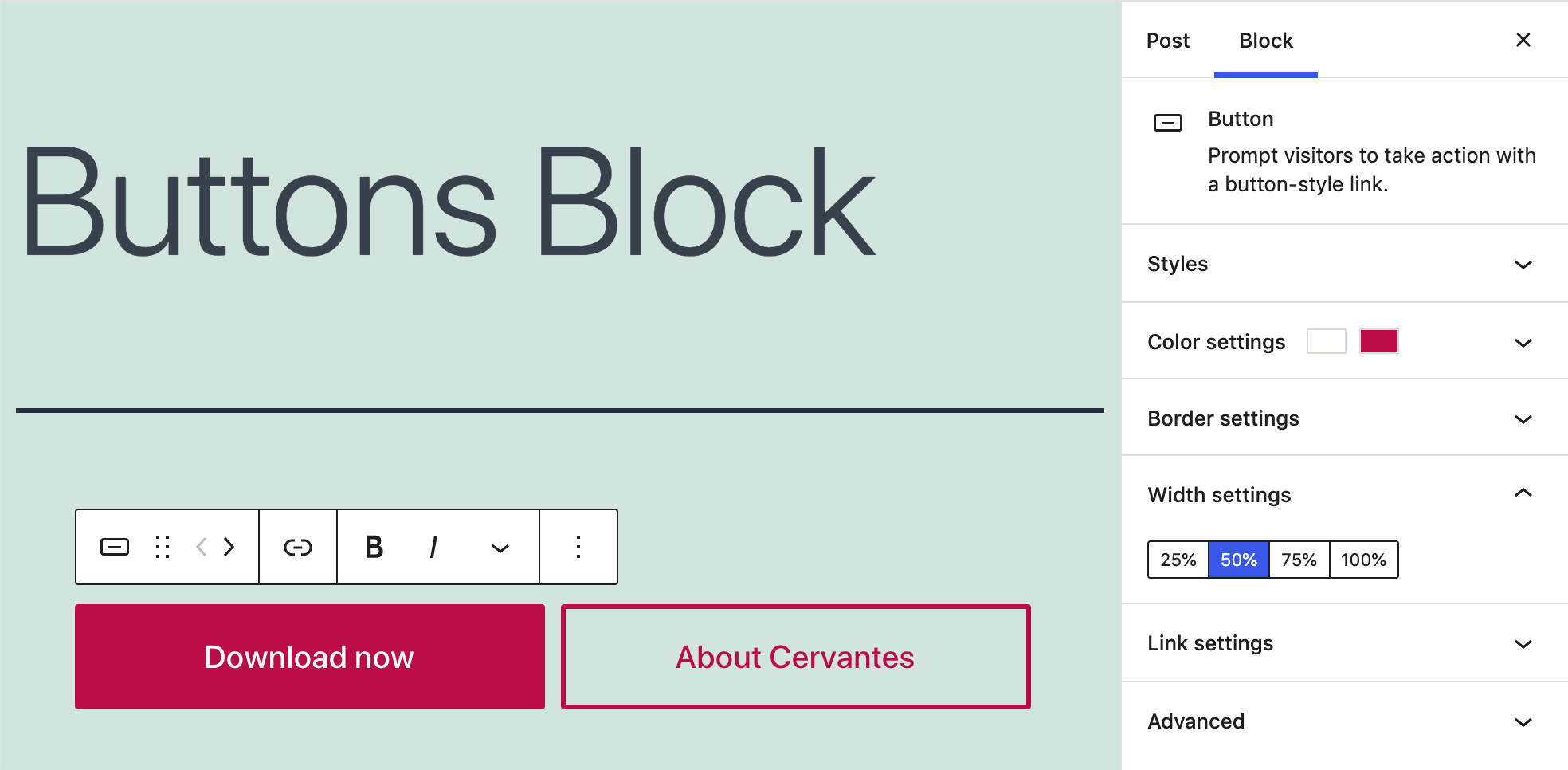 buttons block settings