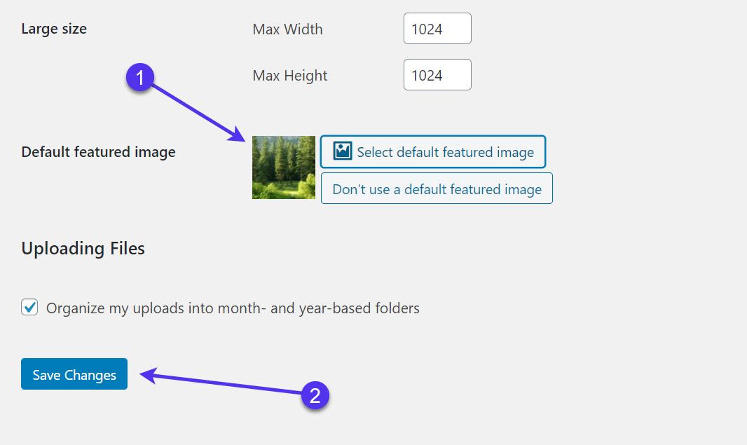Set a default featured image