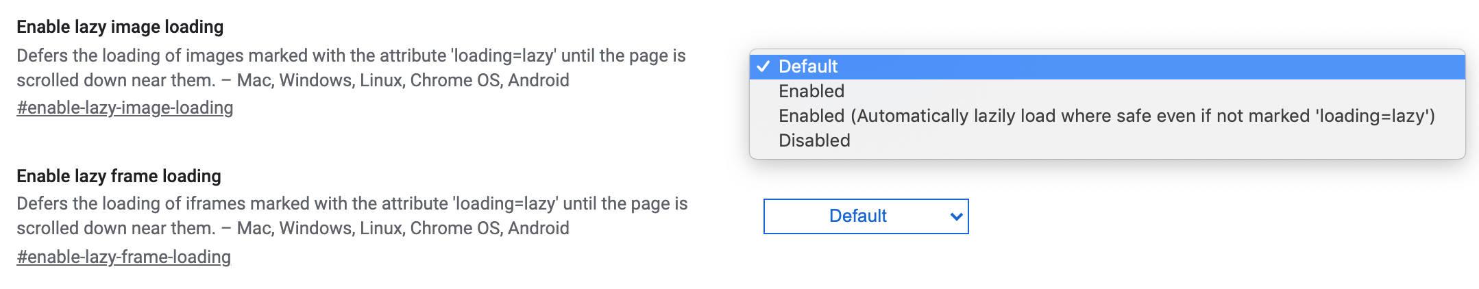 Lazy loading settings in Chrome