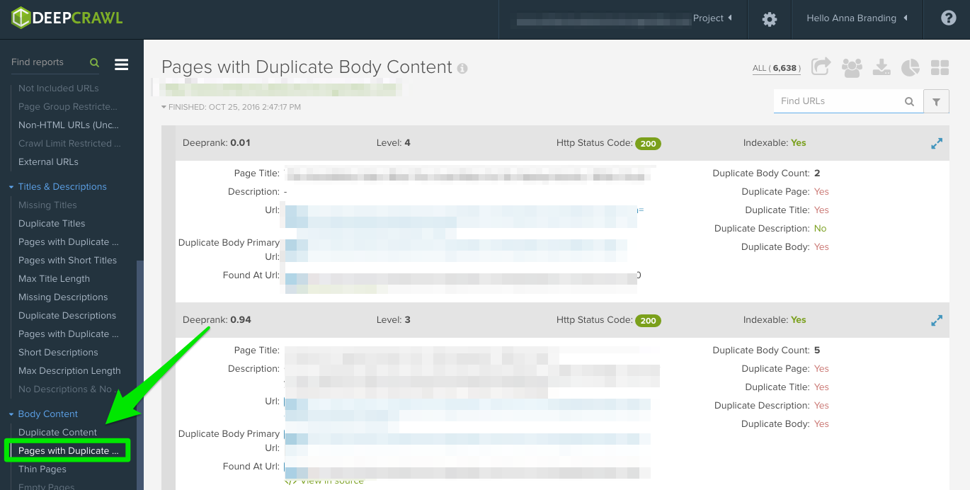 deepcrawl_pages with duplicate content report