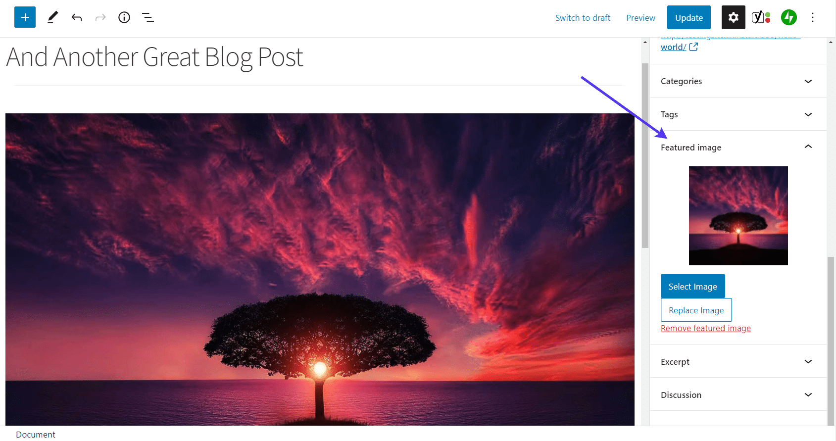 Check the 'Featured Image' tab