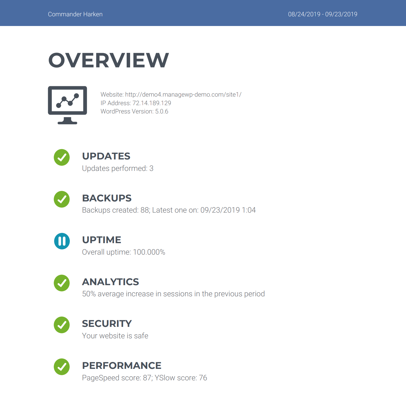 A client onboarding report created using ManageWP.