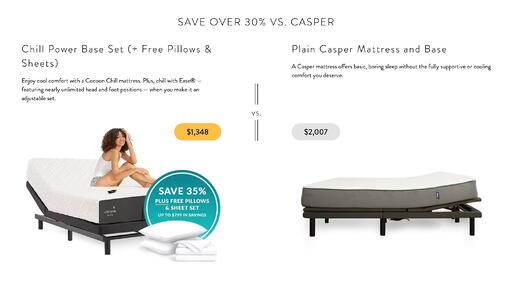side by side image of woman sitting on cocoon by sealy mattress and empty casper mattress