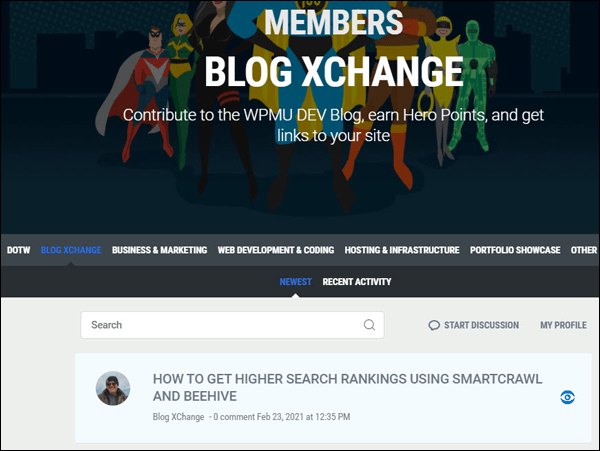 WPMU DEV - Blog XChange section with content added.
