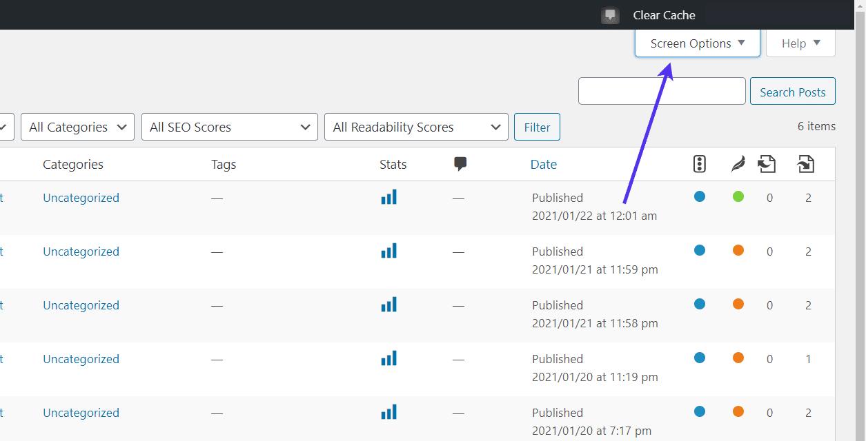 Click 'Screen Options' tab at the top