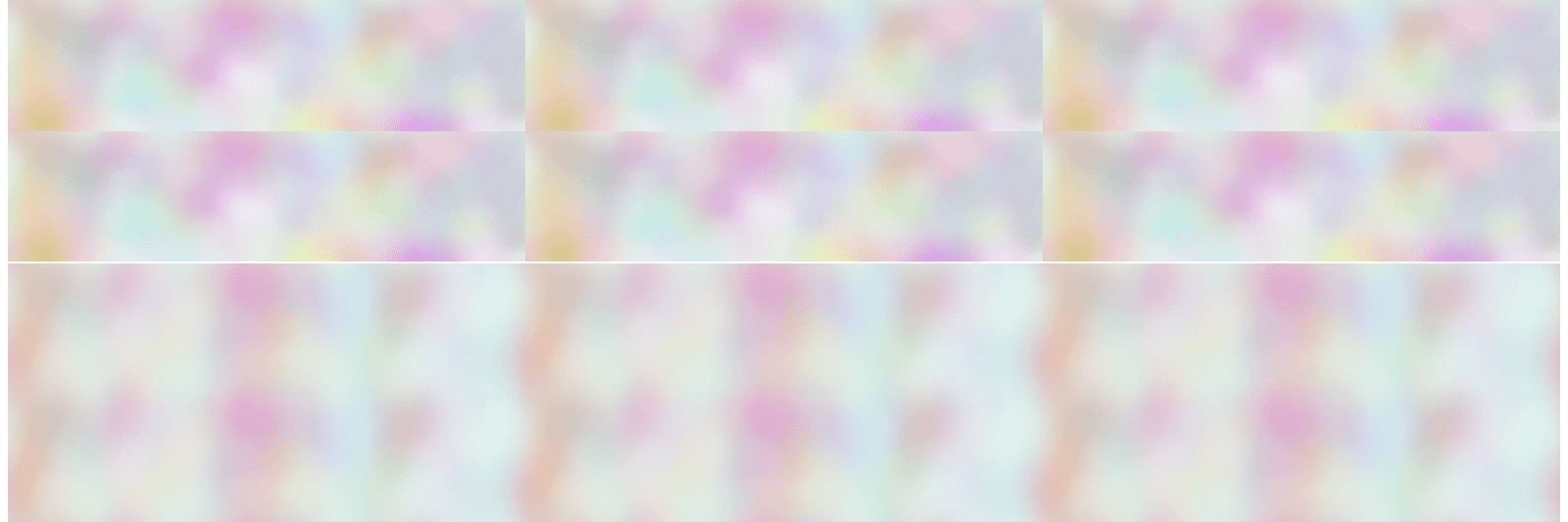 Two long rectangles with blurry color patterns stacked one on top of the other. The top rectangle is split into six smaller rectangles, carrying the same pattern. The bottom rectangle is a single pattern.