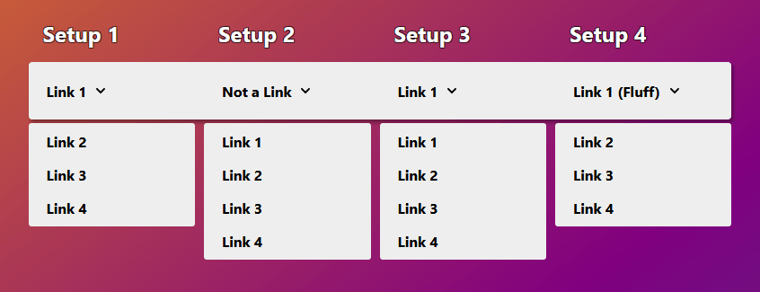 Image of a white menu with four menu items going from left to right. The menu is against a gradient background that goes from a burnt orange to a deep purple horizontally. Each menu item corresponds to one of the usability issues that were described.