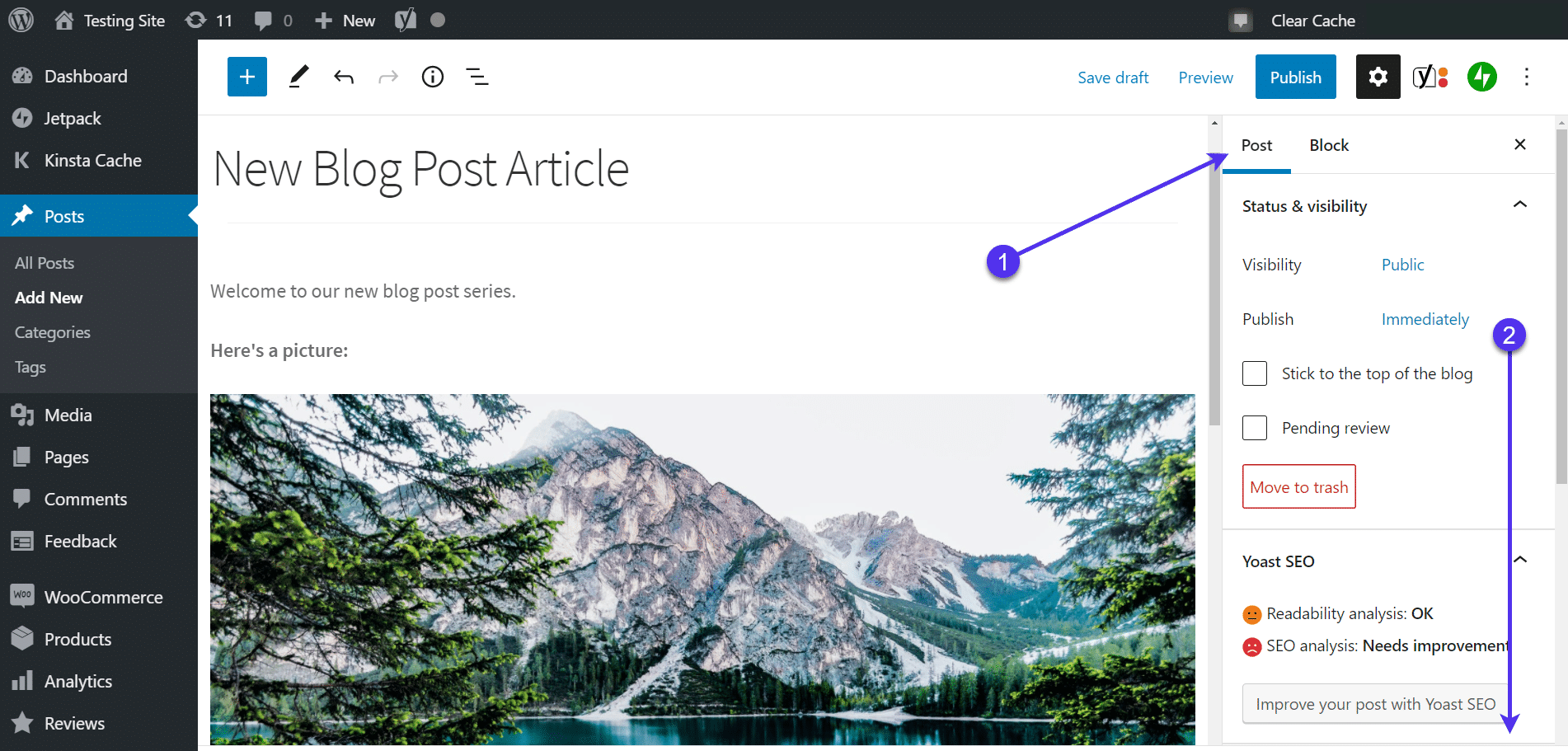 Accessing the post settings