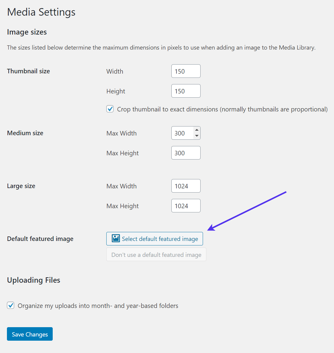 Select the default featured image
