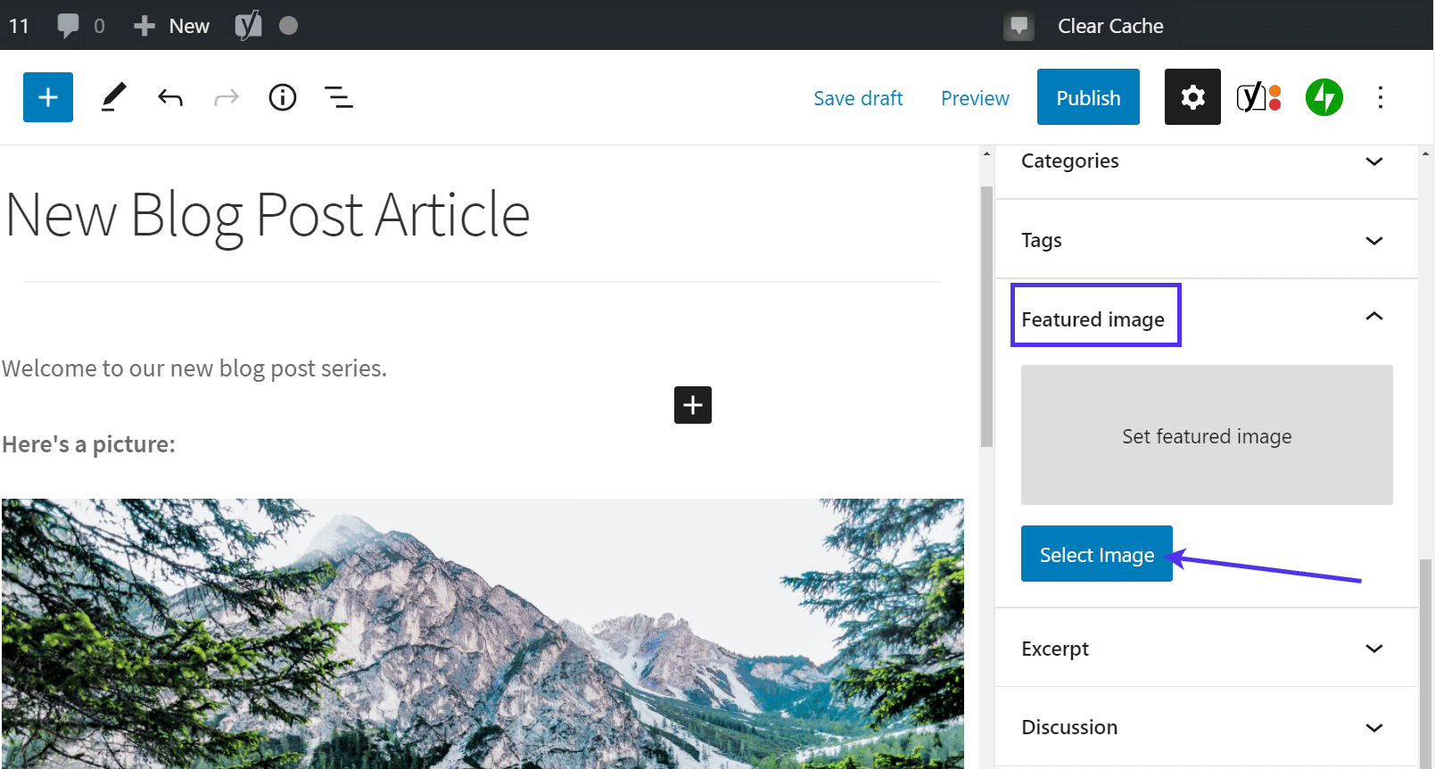Click on 'Select Image' in the Featured Image tab