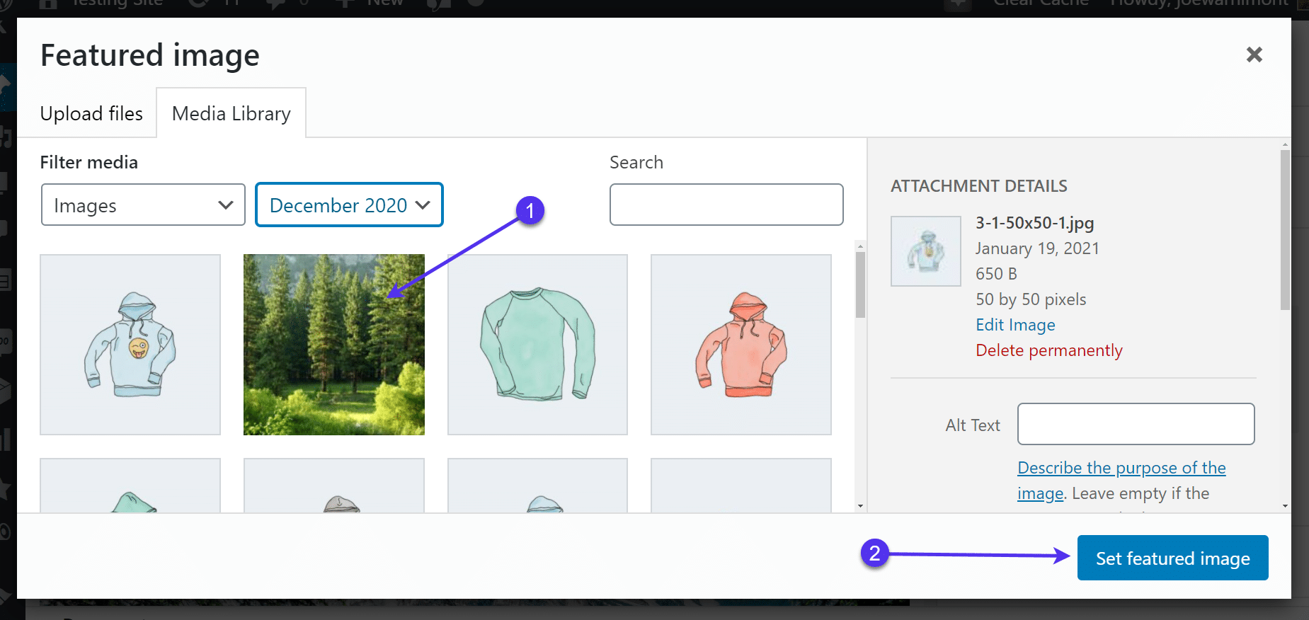 Choose an image to 'Set featured image'