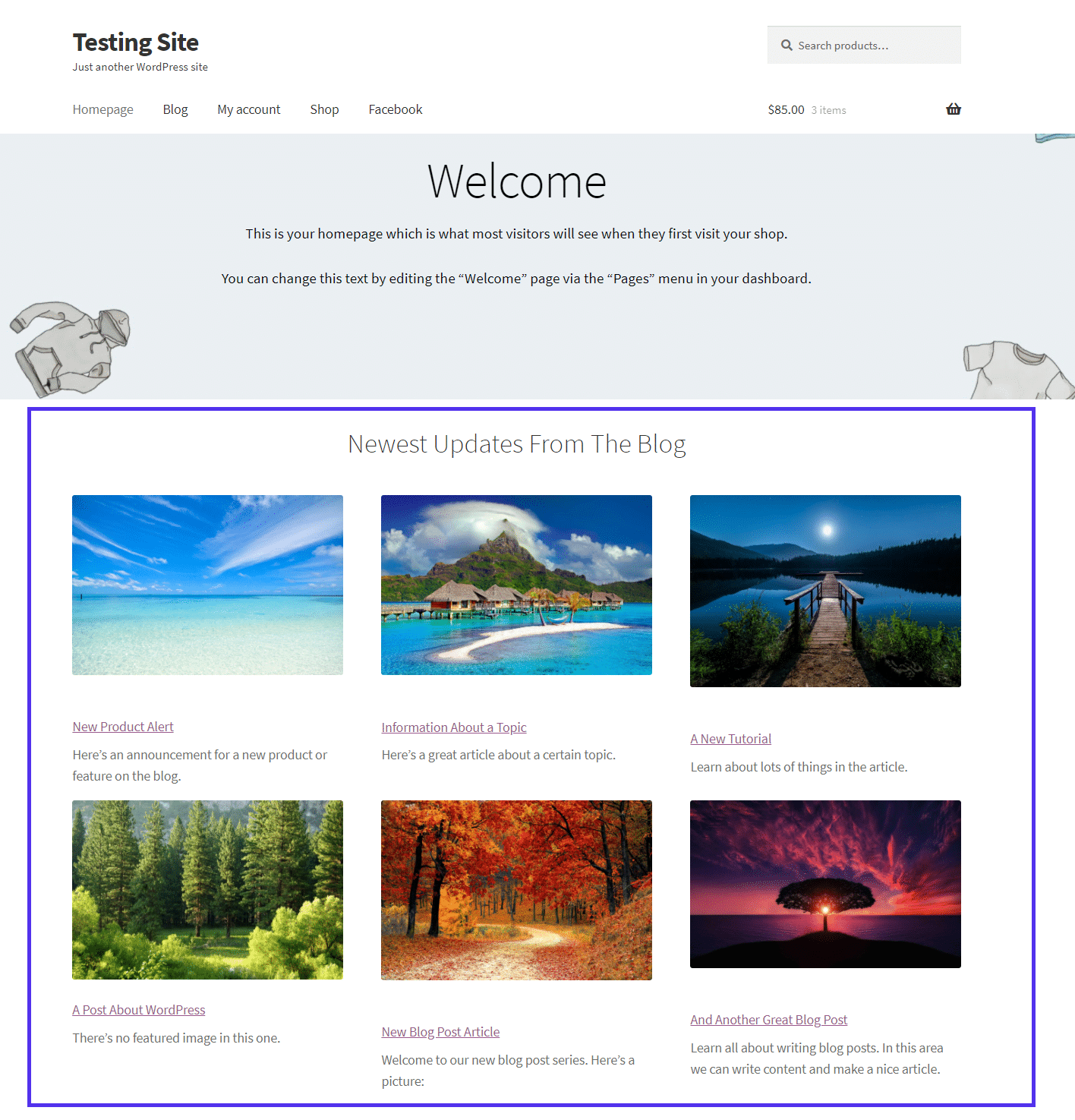 Recent posts with featured images showing