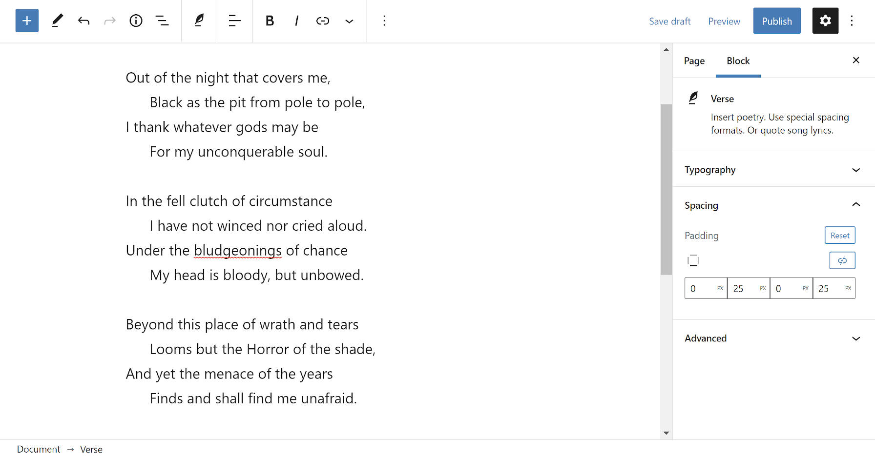 A Verse block in the WordPress editor with a new padding option.