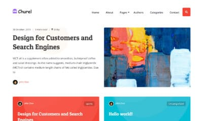 Partial homepage screenshot of the Churel WordPress theme, featuring a sticky post and two cards in a grid.