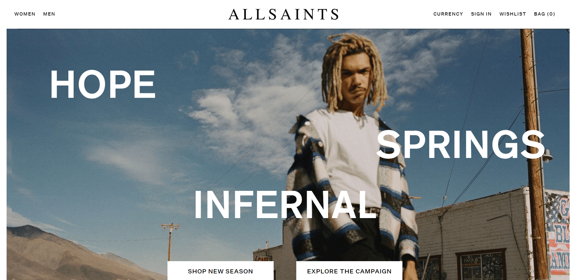 An artistic layout communicating AllSaint's alternative, artistic brand identity.