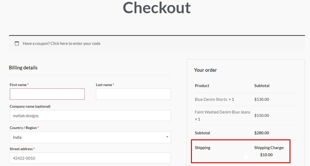 Checkout shipping charge 2