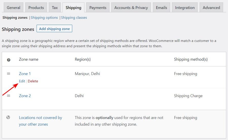 Edit shipping zone WooCommerce