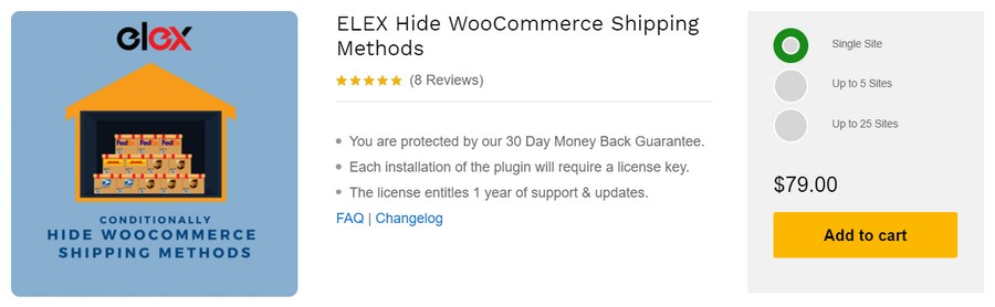 Elex hide WooCommerce shipping methods WordPress plugin