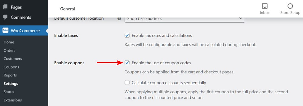 Enable coupons code WooCommerce