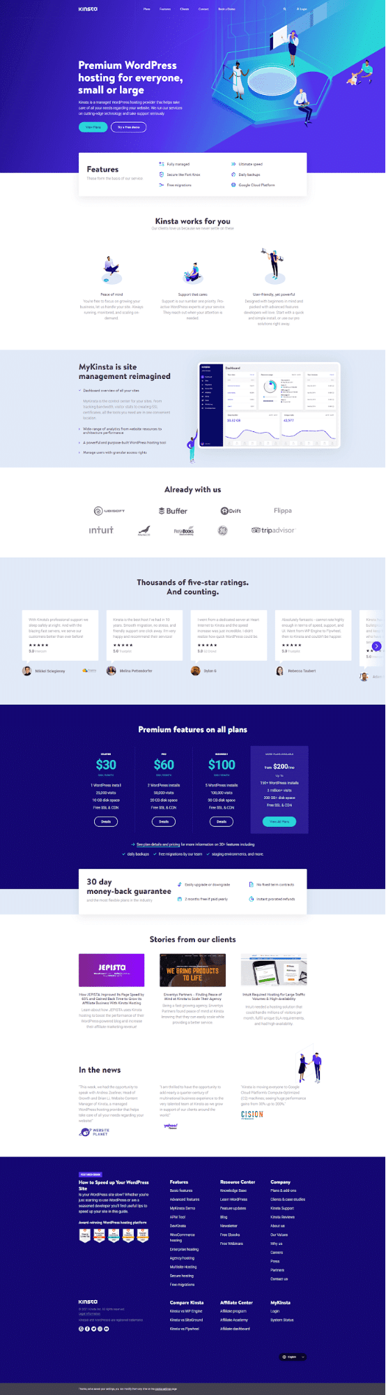 A full-page screenshot of the Kinsta homepage.