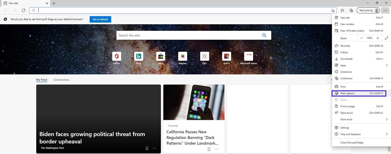 "Microsoft Edge menu showing the location of ""Web capture"" option."