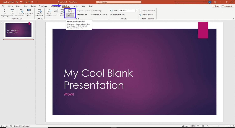 PowerPoint's Slide Show menu.