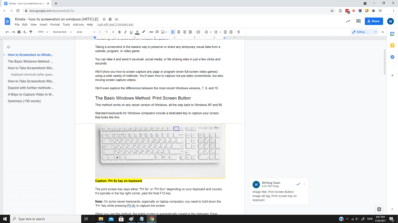 A basic full screen screenshot in Windows.