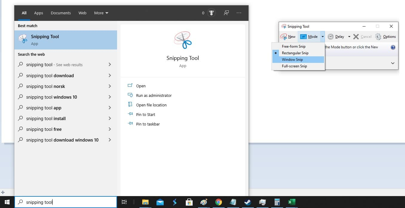 The Snipping Tool in Window's Start menu.