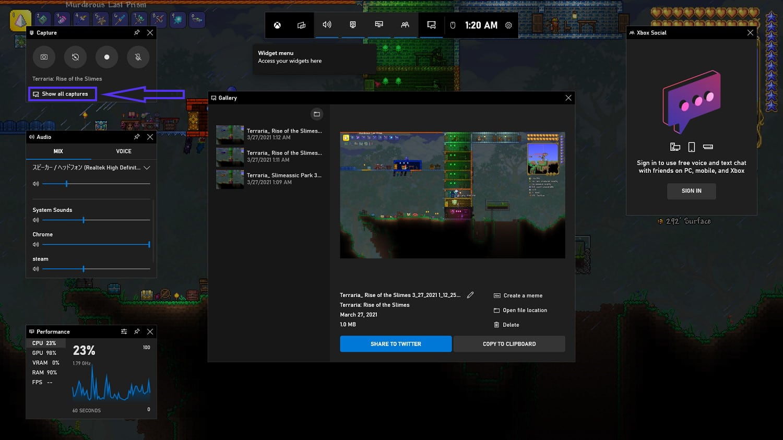Xbox Game Bar screenshot gallery.