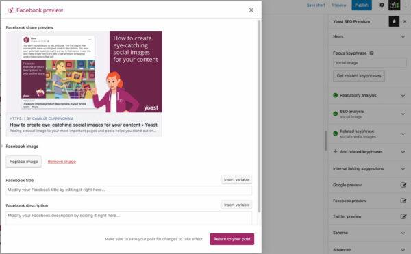 adding social image in facebook preview Yoast SEO Premium