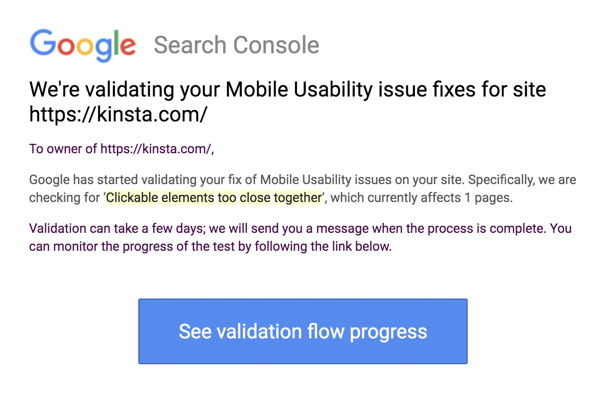 The Google Search Console validation update message.
