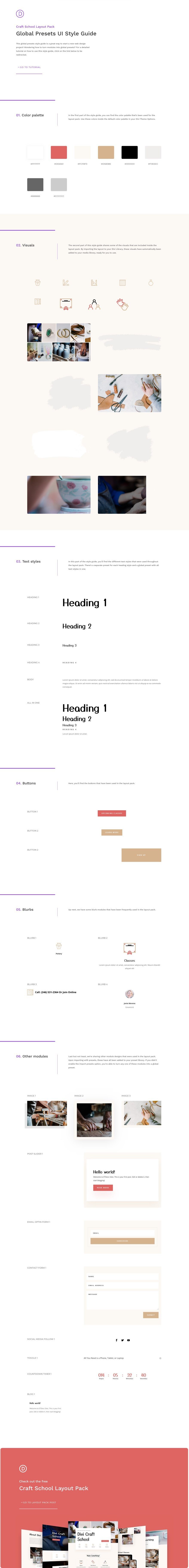 divi craft school global presets style guide