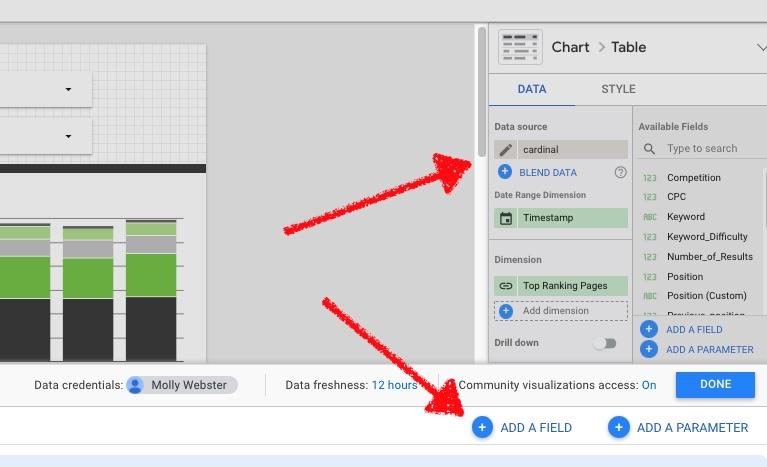 Create a custom field in data studio.