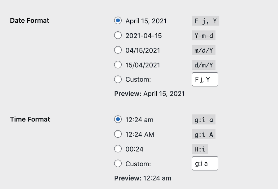 The WordPress date and time format settings.