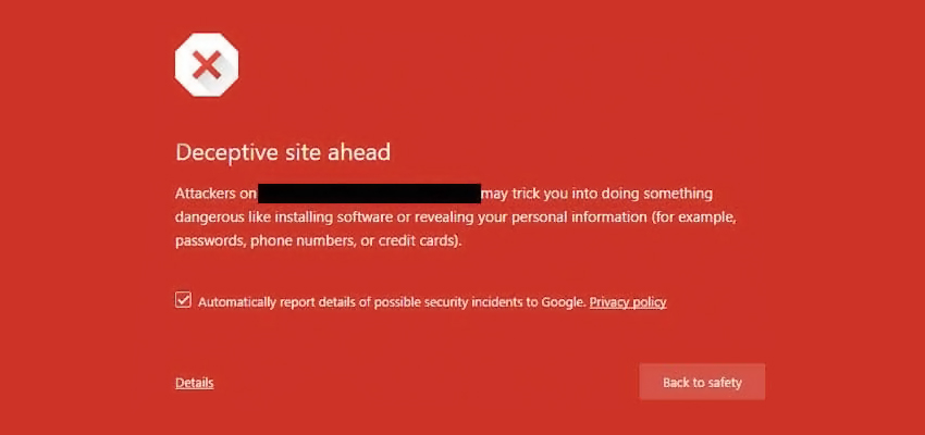 Deceptive Site Ahead Warning By Google