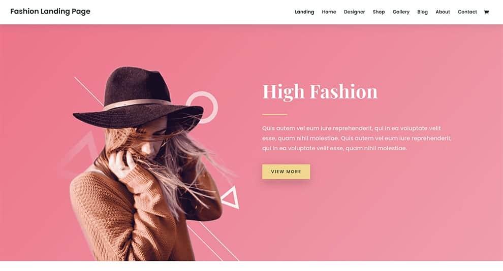 Fashion Landing Page Layout
