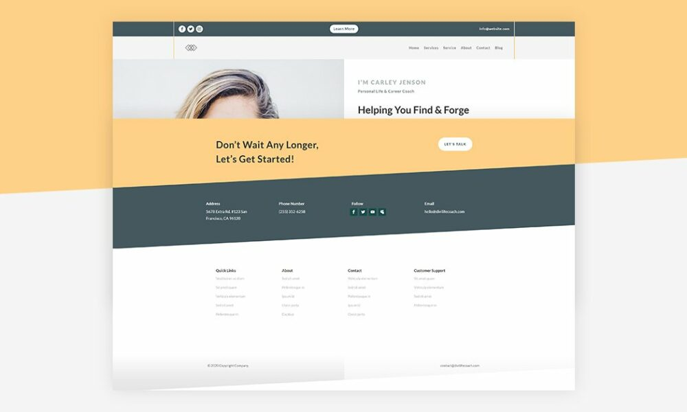 Get a FREE Header & Footer for Divi's Life Coach Layout Pack