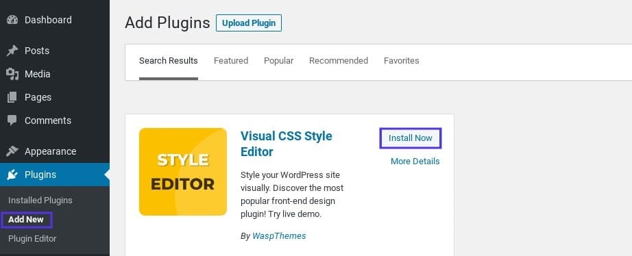 The option to install the YellowPencil plugin in WordPress.