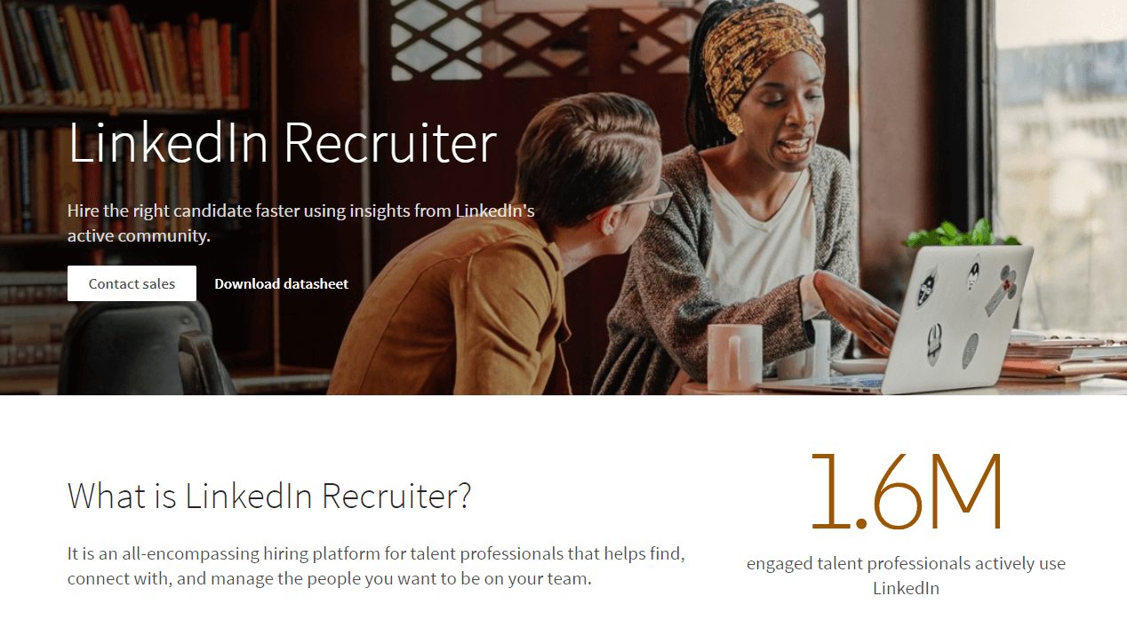 The LinkedIn Recruiter home page.