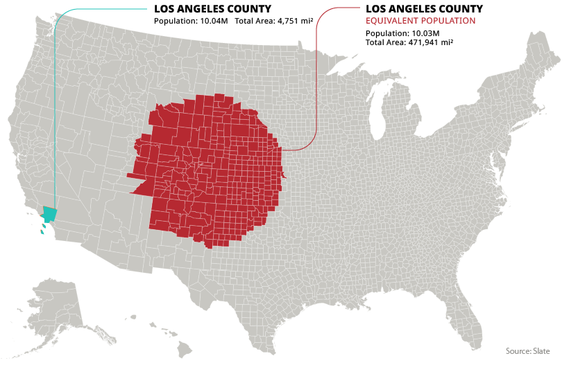 los angeles county population density equivalent map
