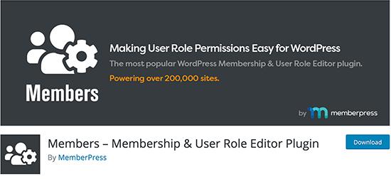 Members - User Role Editor Plugin