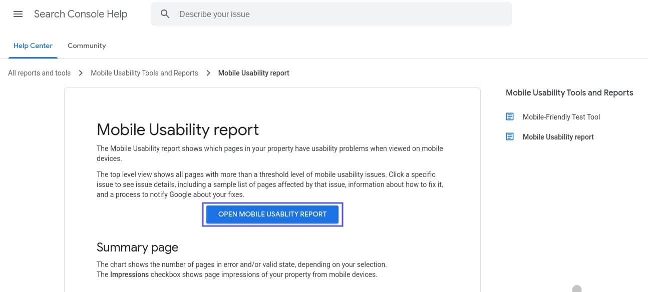 The Google Search Console Mobile Usability Report tool.
