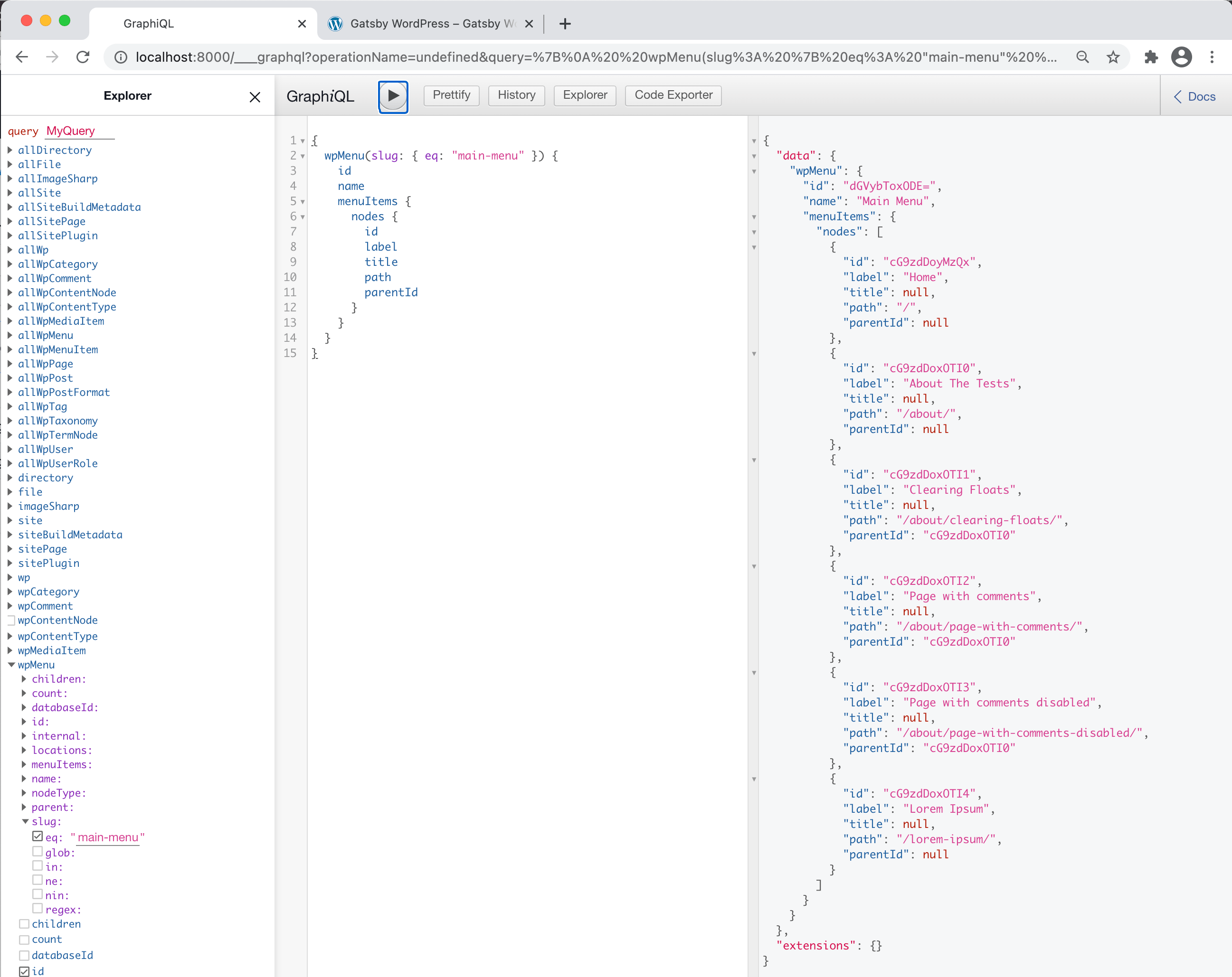 The GraphiQL UI showing three panels, one for the Explorer, one for the GraphiQL query, and one that displays the returned data from the query.