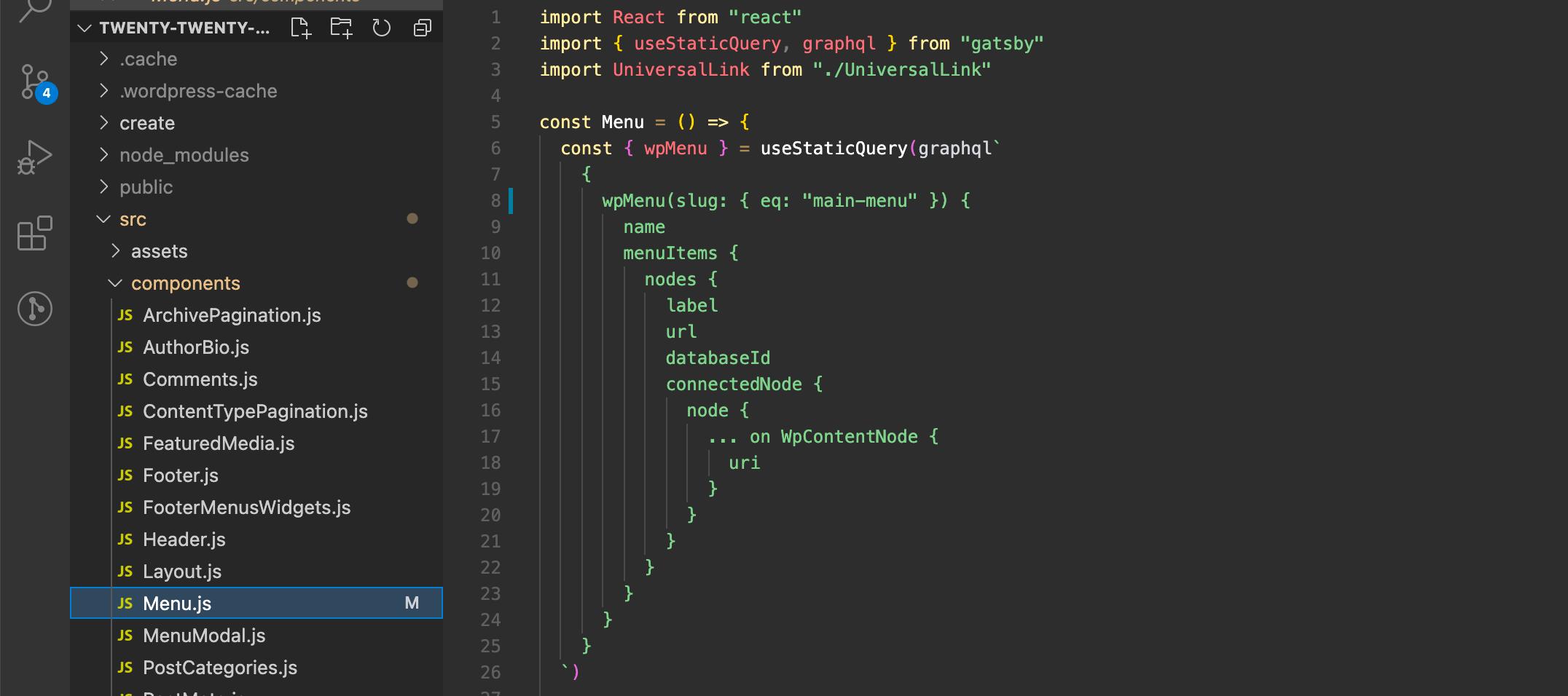 "Screenshot showing Menu.js file with changed menu slug to ""main-menu"" in line 8."